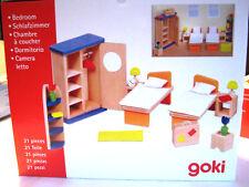 Goki Schlafzimmer, Möbel für Puppenhaus, Holz, 21 Teile