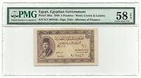Egypt Egyptian Banknote 5 Piasters 1940 P165a Farouk Prefix K/7 AUNC PMG 58 EPQ