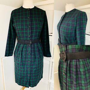 St Michael Blue & Green Tartan Pencil Dress Size 12-14 100% Wool Button Front
