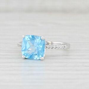 4.09ctw Blue Topaz Diamond Ring 14k White Gold Size 7.25 Cushion Solitaire