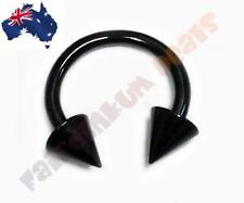 16G 316L Surgical Steel Black Anodised Horse Shoe Barbell with Cone Ends