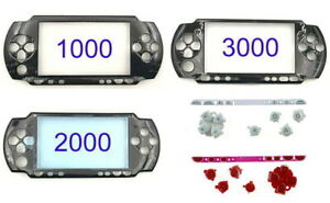 PSP 1000/2000/3000 Black Faceplate Screen Front Cover Replacement Shell Buttons
