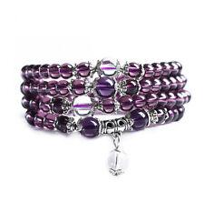New 6mm stone Buddhist Amethyst 108 Prayer Beads Mala Bracelet Necklace Fsh