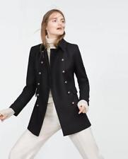 ZARA WOMAN Navy Blue Wool Blend Military Styled Double Breasted Peacoat  X LARGE