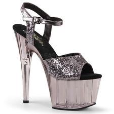 "7"" Brown Bronze Glitter Clear Pole Dancer Stripper Shoes Heels Pleaser Adore"