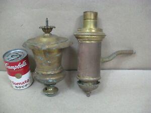 Antique 2 Brass Bronze Argand Astral Oil Lamp Original Tanks Parts Repair (L2)