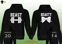 Couple Custom Made Hoodie - Married Since Beast And Beauty His And Hers Hooded