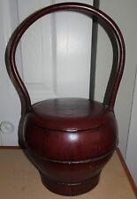ANTIQUE 1870'S HEMU WOOD ZHEJIANG CHINA CARRY RICE~GRAIN BUCKET