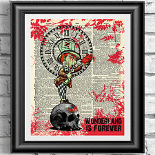 Art print on ORIGINALE ANTICO LIBRO pagina il Walking Dead Zombie Pazzo CAPPELLAIO ALICE