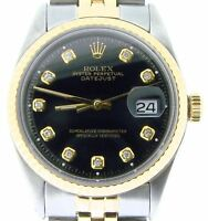 Rolex Datejust Mens 2tone 14k Gold Stainless Steel Jubilee w/ Black Diamond Dial
