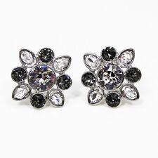Givenchy Smokey & Clear Swarovski Crystal Clip On Earrings Silver Tone Metal