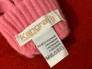 VINTAGE PERFECT KANGRA 100 CASHMERE WOMAN GLOVES PINK SMALL