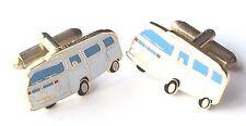 White VW Camper Van Enamel Crested Cufflinks (N261) Gift Boxed