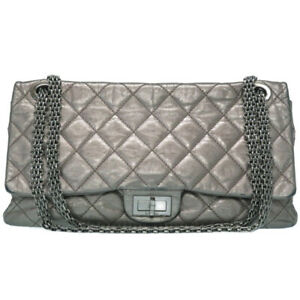 Auth CHANEL Quilted Matelasse 2.55 Chain Shoulder Bag Leather Silver U0804IAPG6