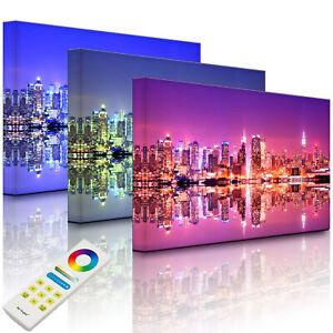 Beleuchtetes Bild LED Leuchtbild - Manhattan Skyline Spiegelung