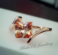 Champagne Stone Ring/Simulated Diamond/Rose gold/R115