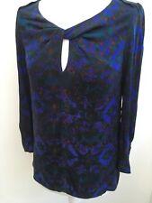 Comptoir Des Cotonniers Ladies Silk Green Purple Keyhole Shirt Top Blouse Size 8