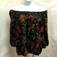 Jones New York 3X Top Black Paisley Floral Off the Shoulder Plus Size Shirt