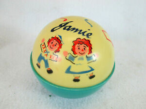 Vintage 1970's Raggedy Ann & Andy roly poly baby chime bell plastic ball