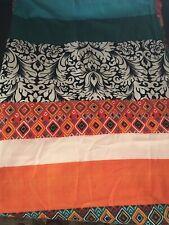 Bohemian Stripe Turquoise Black White Orange Shower Curtain Lush Décor New