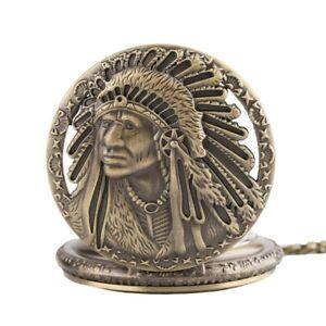 Retro Antique Old Man Face Quartz Pocket Watch 80cm Necklace Chain Collectibles