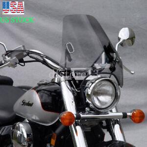 "Large 19""x17"" Universal Motorcycle Windshield 7/8 & 1"" Handlebars Windscreen"
