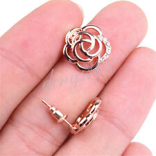 18K Rose Gold Filled 14mm See-through Flower Crystal Stud Post Earrings H400