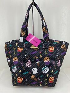 Betsey Johnson Quilted Halloween Puffy Nylon Tote w/ Candy & Treats Images NWT