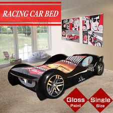 Black High Gloss Kids Children Racing Car Single bed drawer Storage 3D Wheel