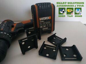 4x WORX 20V battery mount rack holder 4 wall shelve van