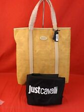 NWT JUST CAVALLI Beige Fabric Crocodile Shopping Hand Shoulder Bag TOTE