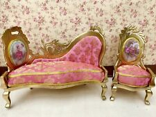 Dolls House Beautiful Gilded 18th Century Style Sofa and Chair