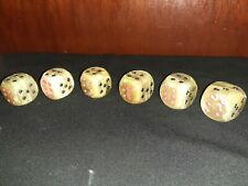 """6-Vintage 1970's natural stone dice/paperweights 1/14"""" square."""