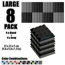 New 8 pcs Black & Gray Bundle Pyramid Acoustic Panel Studio Foam Tiles 25*25*5cm