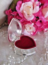 Gorgeous Engravable Silver Heart  Wedding Ring Box With Burgundy Felt Lining