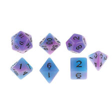MagiDeal 7Pieces Blue Purple Shiny Acrylic Polyhedral Dice for TRPG RPG Accs