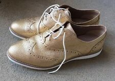 Authentic COLE HAAN  WING Tip Gold Women's Oxfords Size 10 1/2 B 10.5