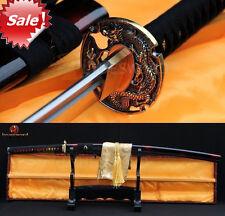 JAPANESE SAMURAI KATANA SWORD DAMASCUS FOLDED STEEL BLADE FULL TANG DRAGON TSUBA
