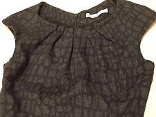 KAREN MILLEN DRESS stretch Black & Gray Wool Suit Pencil Wiggle Women 6 US