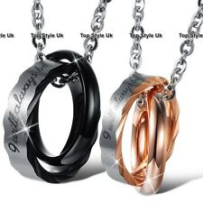 Promise Necklaces Engraved Rings Charms Rose Gold & Silver Gift for her Him H8