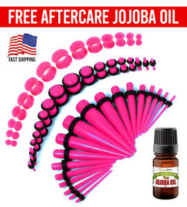 BodyJ4You 50PC Gauges Kit Pink Taper Single Double Flare Acrylic Silicone Plugs