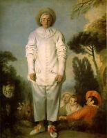 Huge art Oil painting male portrait huge man - Harlequin Gilles & donkey canvas