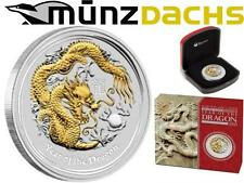 $1 Lunar II 1 oz Silver Year of the Dragon Australia 2012 gilded BOX+COA