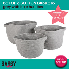 Cotton Baskets Set of 3 Round Collapsible Bag Foldable Pot Storage Bin Grey