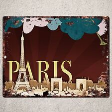 PP0012 Vintage Paris Sign Rustic Parking Plate Home Restaurant Cafe Gift Decor