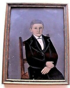WEIRD! RARE! !Antique Oil on Photograph? Painting Portrait Seated Boy Mourning?