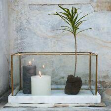Large Marble Brass & Glass Planter Terrarium Candle Holder Lantern Dassie Rafiq
