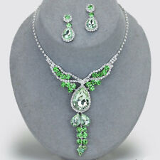 Green diamante necklace set statement bling prom bridal bridesmaid sparkly 0508
