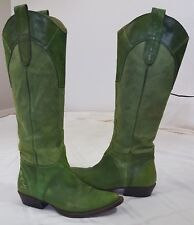 Miss Sixty Green Leather Cowboy Western Riding Pull On Knee High Boots Size 36