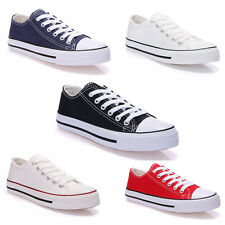 Womens Mens OX Canvas Rubber Low Shoes Trainers Run Sport Casual Gym Sneakers
